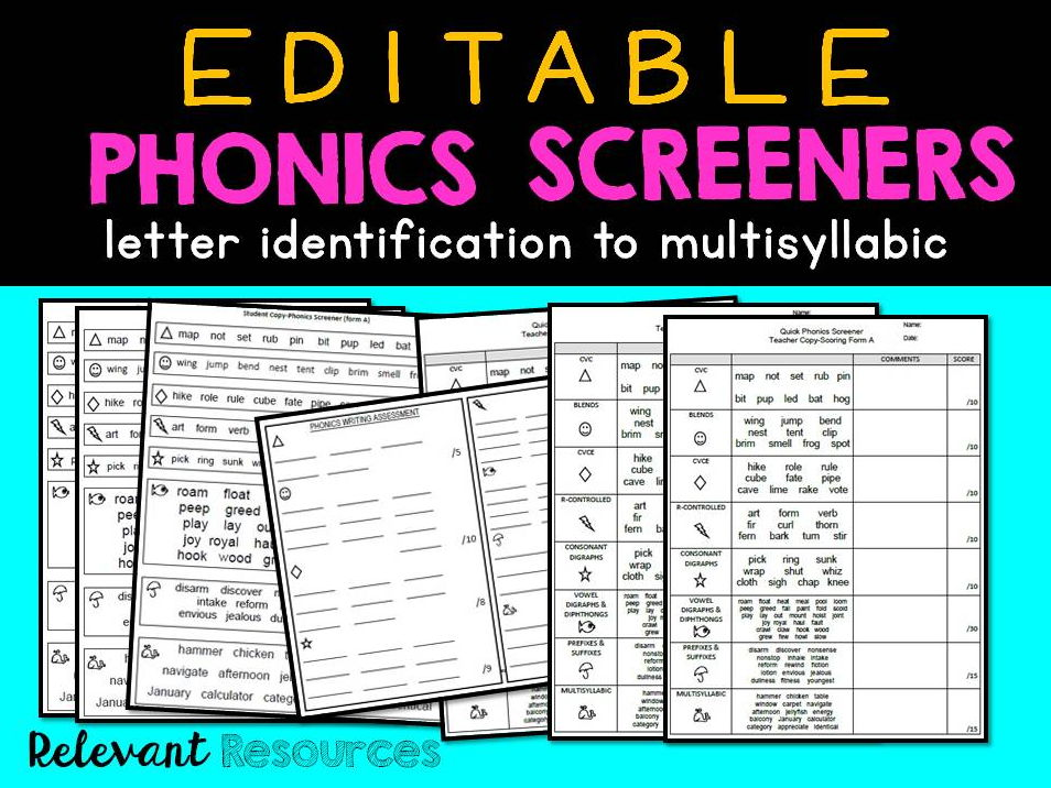 Phonics Screener: Editable