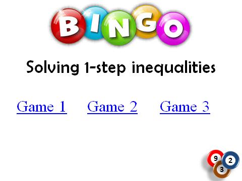 BINGO: Solving Inequalities_1 step