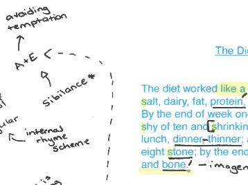 Feminine Gospels, Duffy: The Diet,  poem analysis