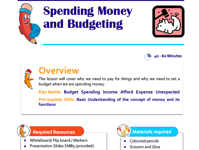 Spending and Budgeting Lesson Plan for KS1