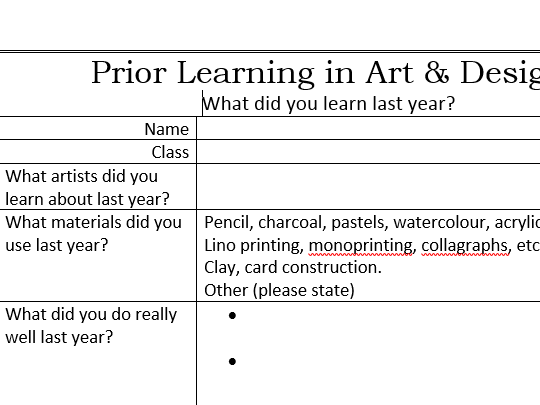 Prior Learning in Art and Design