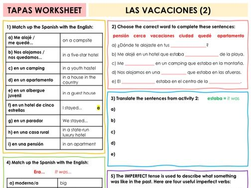 SPANISH TAPAS WORKSHEET WITH ANSWERS - Las vacaciones [2]