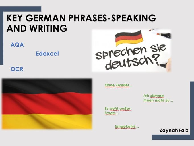 German phrases for Speaking and Writing