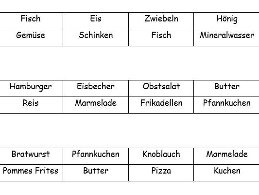 German Food Bingo Cards