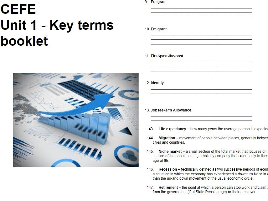 CEFE UNIT 1 - Finance, the Individual and Society - STUDENT BOOKLET- REVISION - KEY TERMS