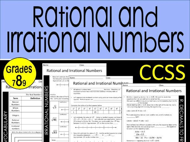 8th Grade Math Rational and Irrational Numbers Guided Notes