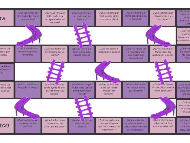 Passive versus Active Voice Spanish Chutes and Ladders Board Game