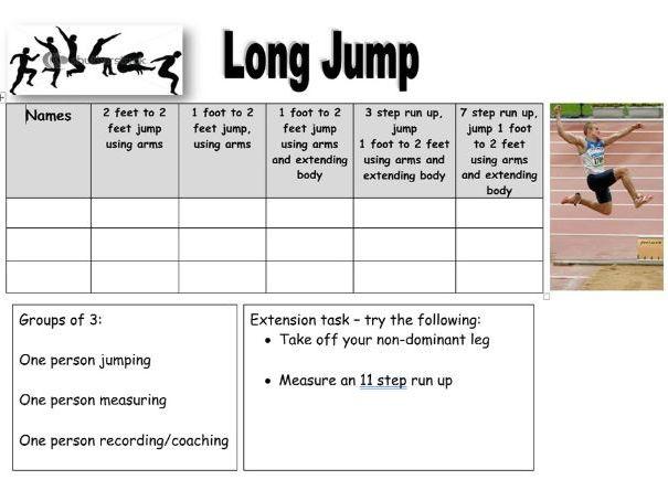 Long Jump Task Card