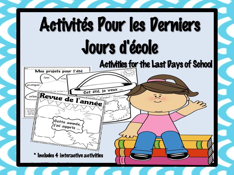 Last Days of School French Activities -Activités pour les derniers jours d'école