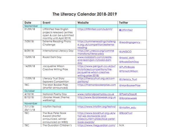 Literacy Calendar 2018-19 PDF ONLY