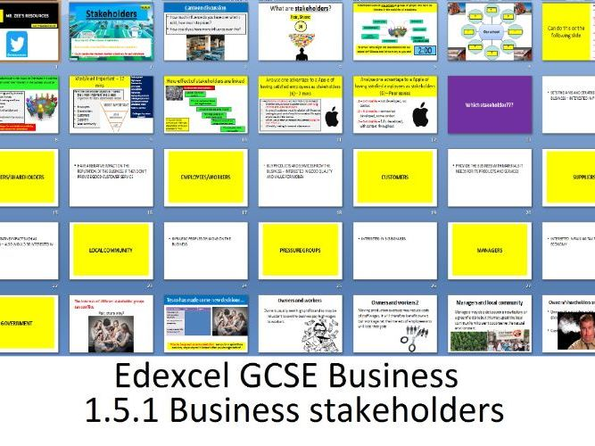 Edexcel GCSE Business - Theme 1 - 1.5.1 Business stakeholders