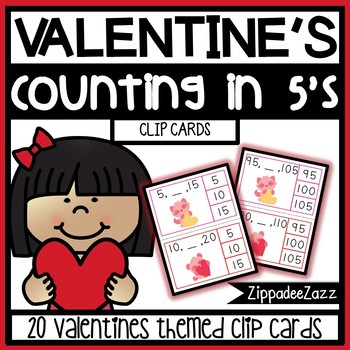 Valentine's Counting in 5's Clothespin Clip Cards