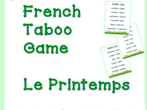 GCSE FRENCH: French PRINTEMPS Taboo Game