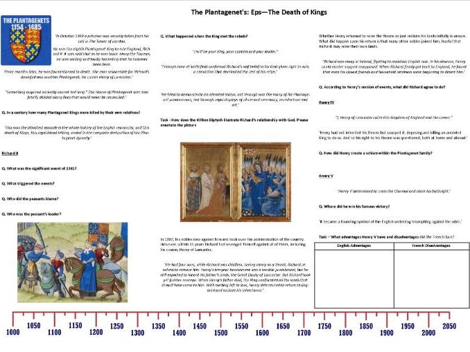 The Plantagenet's Ep3 The Death of Kings - Worksheet to support the BBC Documentary