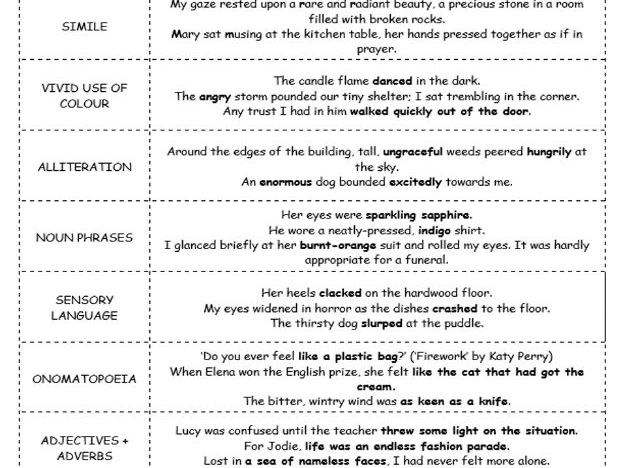 Descriptive Writing Techniques Match Up Activity