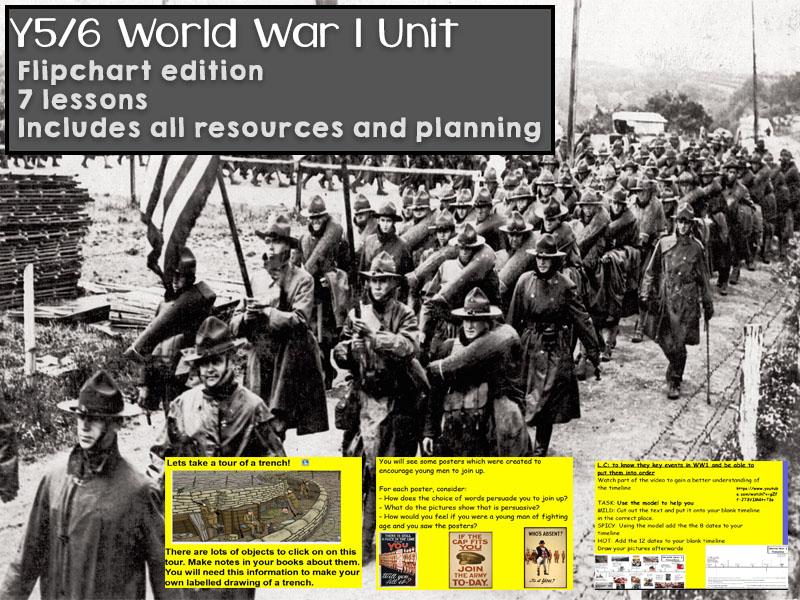 Y5 / Y6 World War 1 (WWI) Unit - 7 lessons