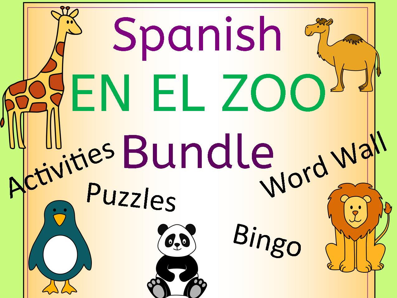 Spanish Zoo Animals Bundle - En El Zoo - Activities Puzzles Word Wall Bingo