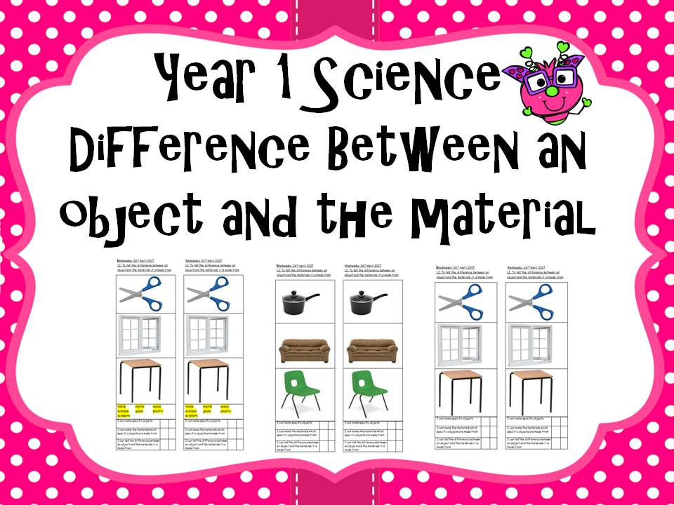 Year 1 Science - difference between an object and the materials it is made from