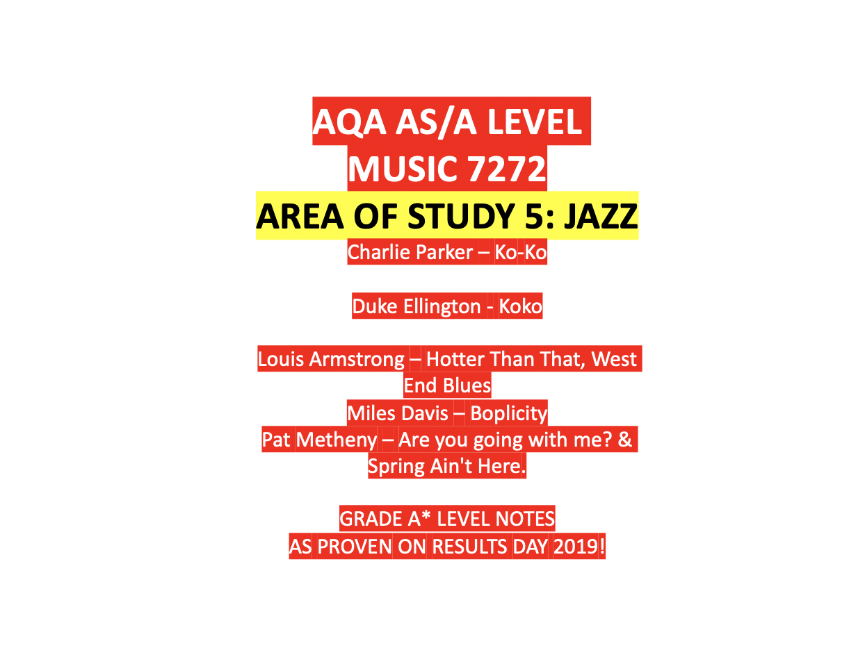 AQA AS/ALEVEL MUSIC JAZZ AREA OF STUDY 5