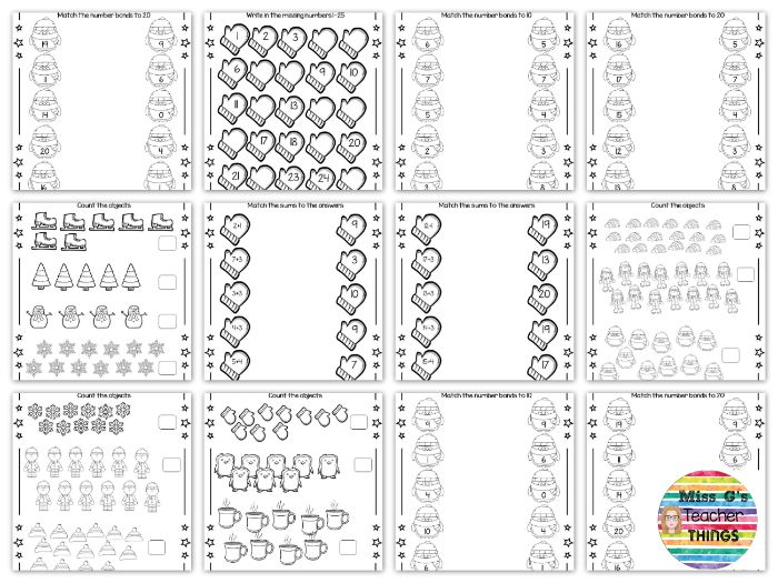 Winter Maths worksheets : counting objects and basic addition - EYFS Reception / Year 1