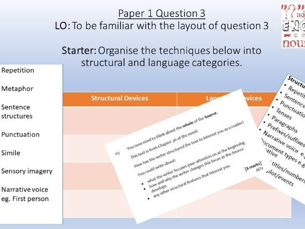 AQA Language Paper 1/Question 3