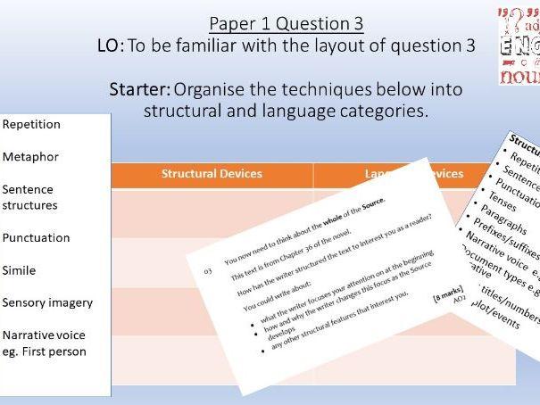AQA Language Paper 1/Question 3