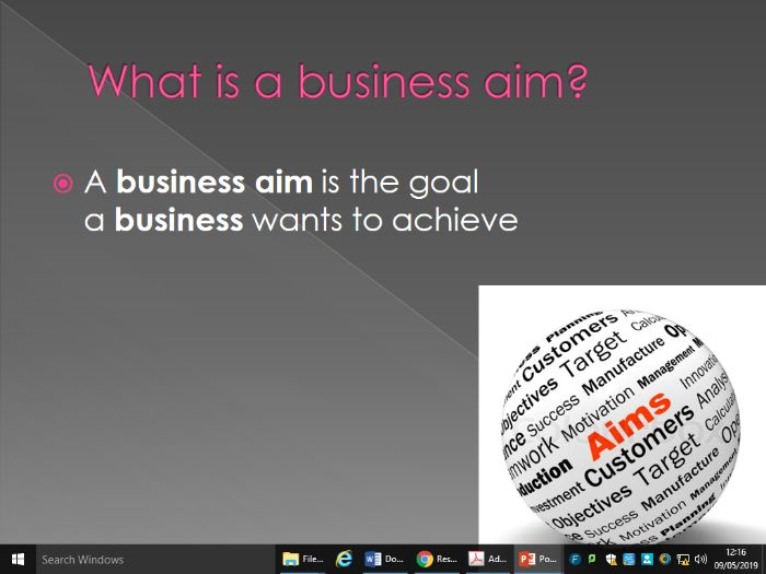 What is business: aims and objectives, goods and services, factors of production