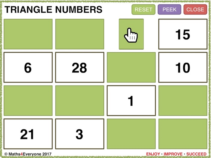 Triangle Numbers (Interactive PowerPoint Game)