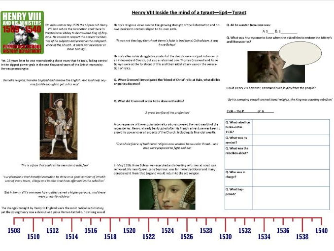 Henry VIII - Inside the Mind of a Tyrant - Ep4. Tyrant - Supporting Worksheet