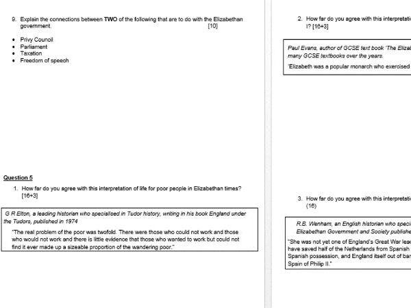 Eduqas/WJEC GCSE History Elizabeth I - 68 practice exam questions NEW EXAM