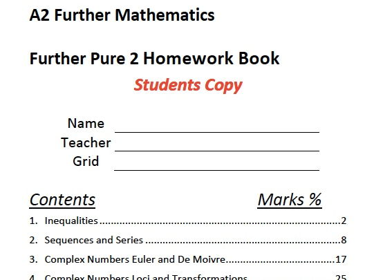 A Level Maths Further Pure 2 Homework Booklet