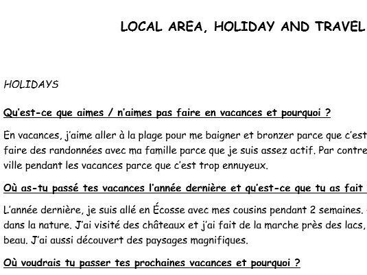 GCSE French Exam Practice Local Area, Holiday and Travel