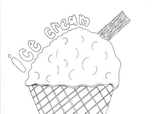 Ice Cream, Seaside, Seasons Colouring Page