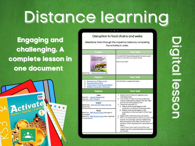 9.1.2 Disruption to food webs: Distance learning (AQA KS3 Activate 1)