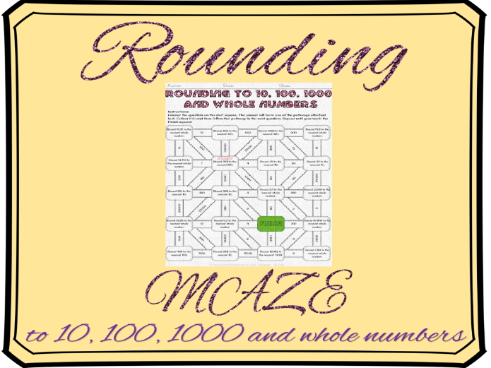 Rounding to the nearest 10, 100, 1000 and whole numbers maze
