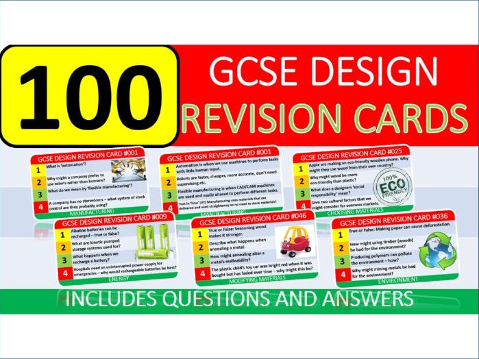 100 x GCSE Design Technology Exam Revision Cards