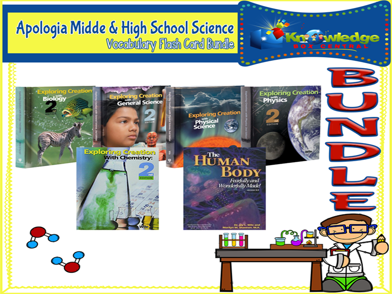 Apologia Midde & High School Science Vocabulary Flash Card BUNDLE