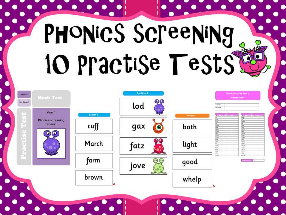 Phonics screening practise tests pack of 10