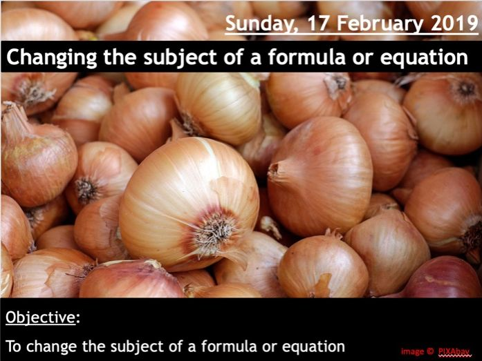 Changing the subject of a formula or equation