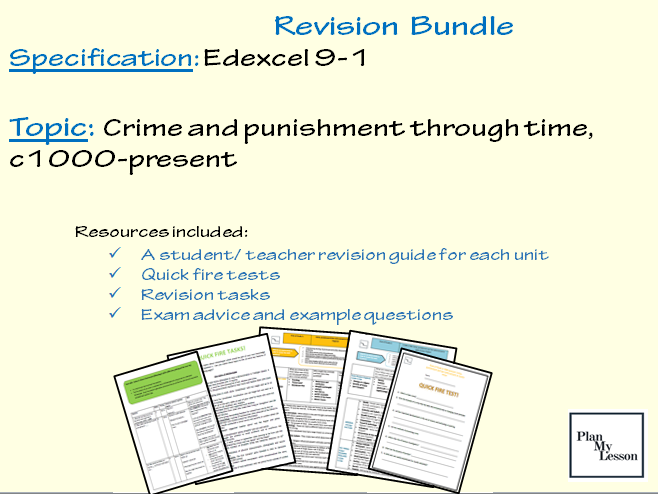 Edexcel 9-1 Crime and punishment through time, c1000-present revision resource pack