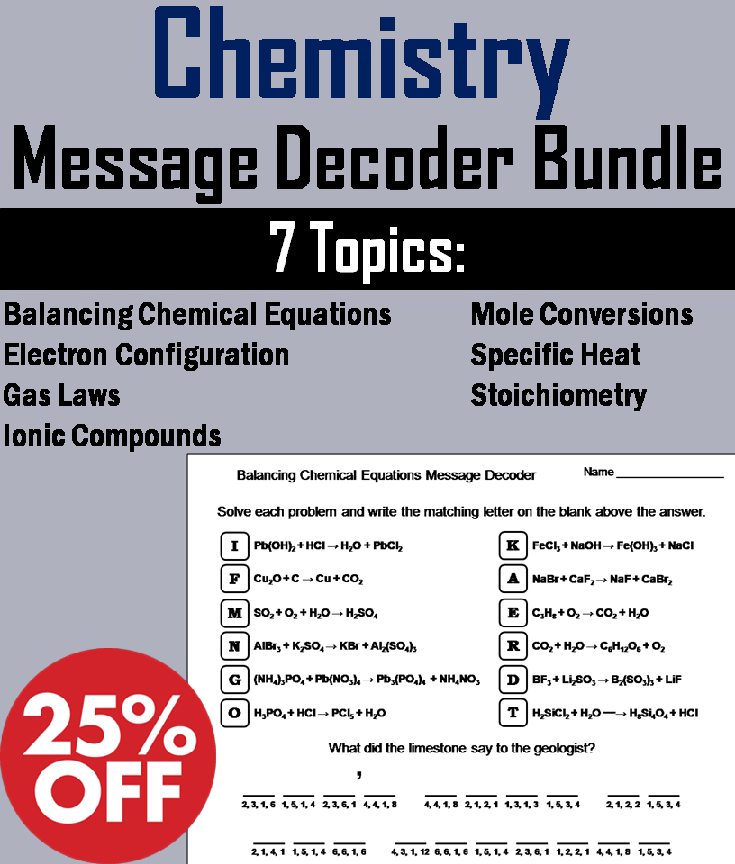 Chemistry: Science Message Decoder Bundle