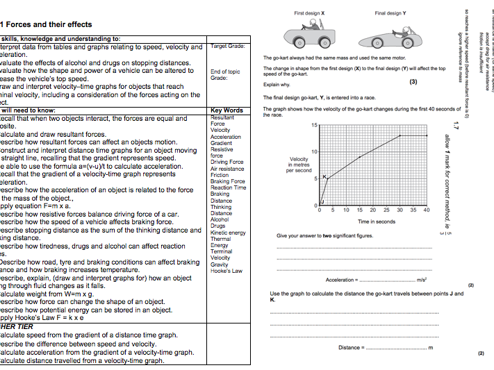 B1 AQA GCSE COMPLETE REVISION WORKSHEETS by itsmsawesome – Force Motion and Energy Worksheets