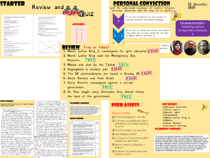 GCSE personal conviction 15 mark exam question