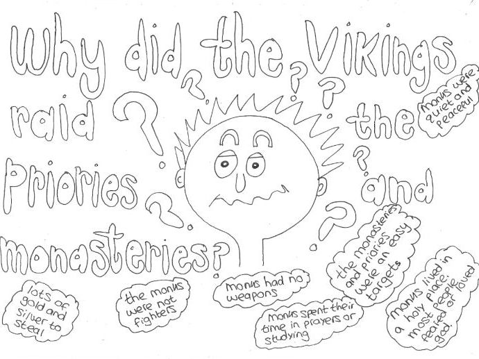 Why did the Vikings Raid Priories and Monasteries? Colouring Page