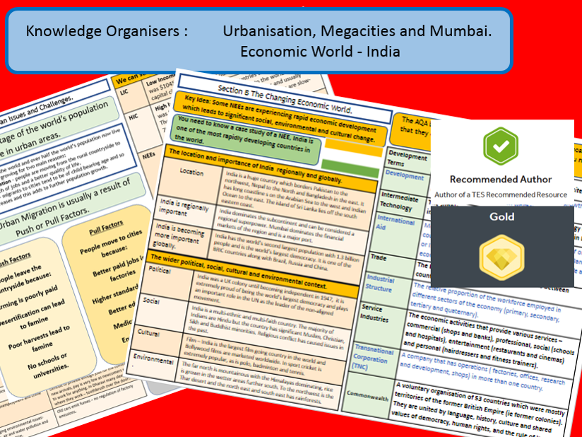 GCSE AQA 9-1 : India and Mumbai Knowledge Organiser Bundle.