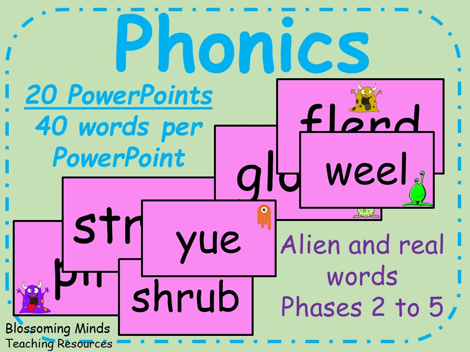 10 Phonics PowerPoints - Real and Alien Words