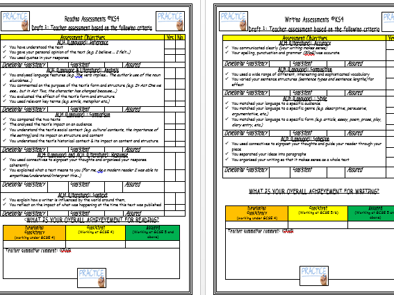 AQA - Reading and Writing Assessment Criteria Sheets (new 2 yr linear English Lit and Lang courses)