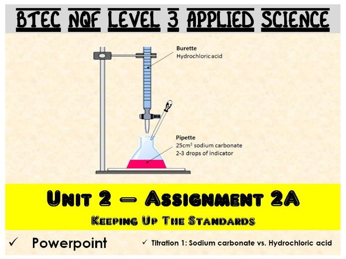 BTEC NQF L3 Applied Science: Unit 2: Assignment A: Titration 1 powerpoint