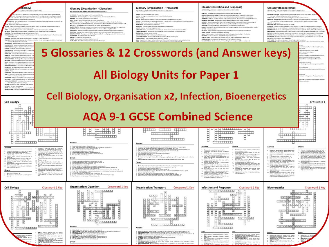 5 Biology Glossaries and 12 Crosswords (AQA 9-1 GCSE Combined Science Paper 1)