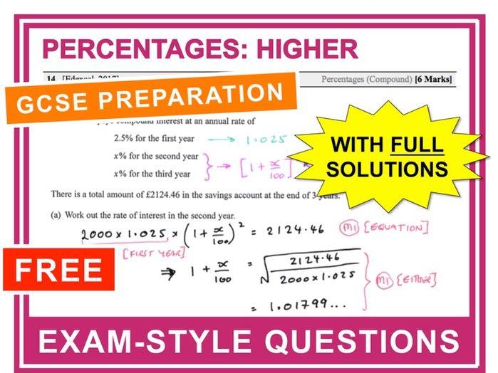 GCSE 9-1 Exam Question Practice (Percentages: Higher)